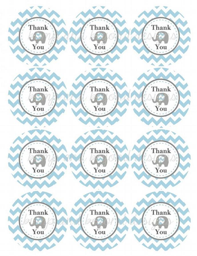 Printable Thank You Tags Birthday Party Baby Shower diy Favor Tags Elephant