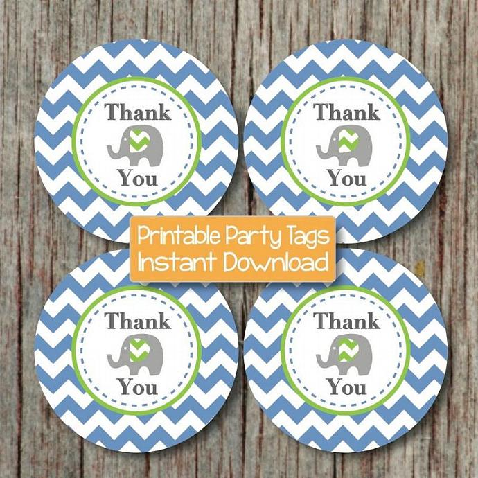 Digital Birthday Party Thank You Tags Elephant Baby Shower Favor Labels