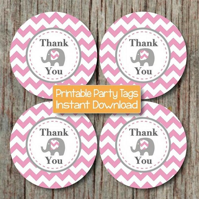 Digital Thank You Tags Elephant Baby Shower Birthday Party Printable diy Girl