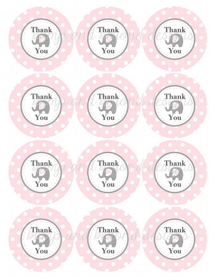 Thank You Tags Baby Shower Birthday Party Printable diy Elephant Girl Powder