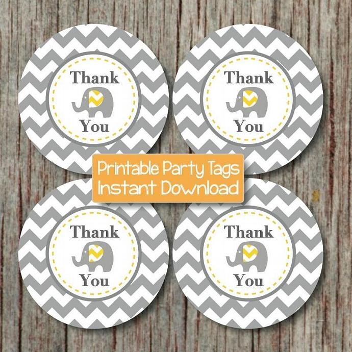 Thank You Favor Tags Elephant Yellow Grey Chevron Prinable Favor Tags Baby