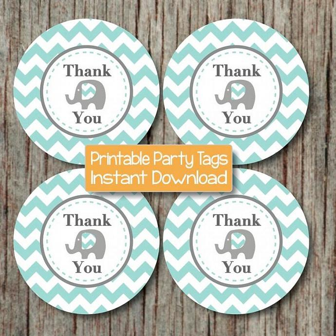 Thank You Gift Bag Tags DIY Printable Thank You Favor Tags Baby Shower Birthday