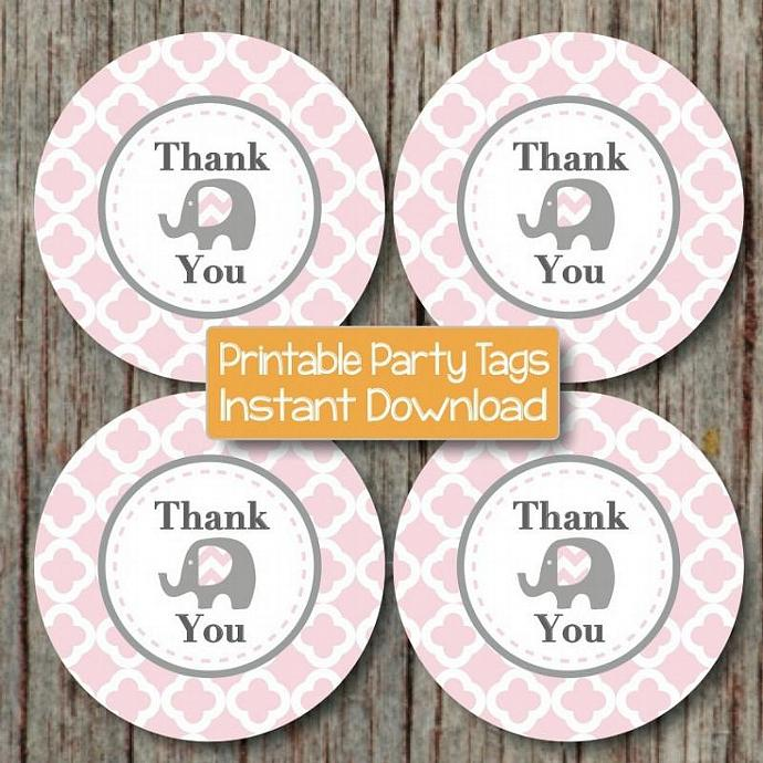 Thank You Printable Gift Bag Tags Favor Labels Baby Shower Birthday Party