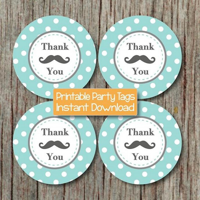 Printable MUSTACHE Thank You Tags Baby Shower Birthday Party Light Teal Grey
