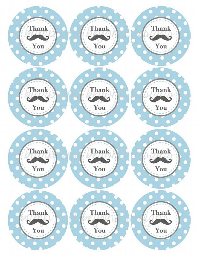 Mustache Thank You Tags Baby Shower Birthday Party Mustache Printable Favor Tags