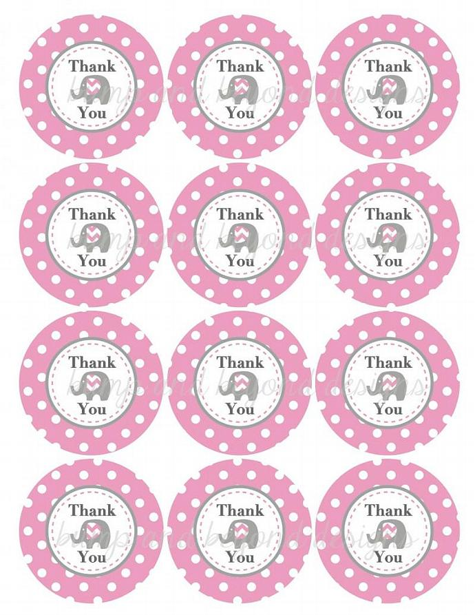 Printable Gum Pink Grey Elephant Thank You Favor Tags Birthday Party Baby Shower