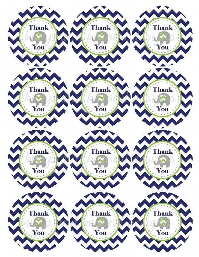 Navy Blue Lime Green Chevron Elephant Thank You Favor Tags Prinable Stickers