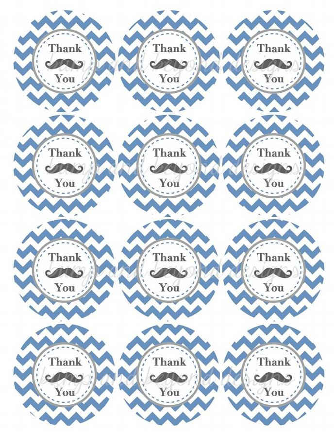 Printable Favor Labels Little Man Mustache Thank You Tag Shower Birthday Party