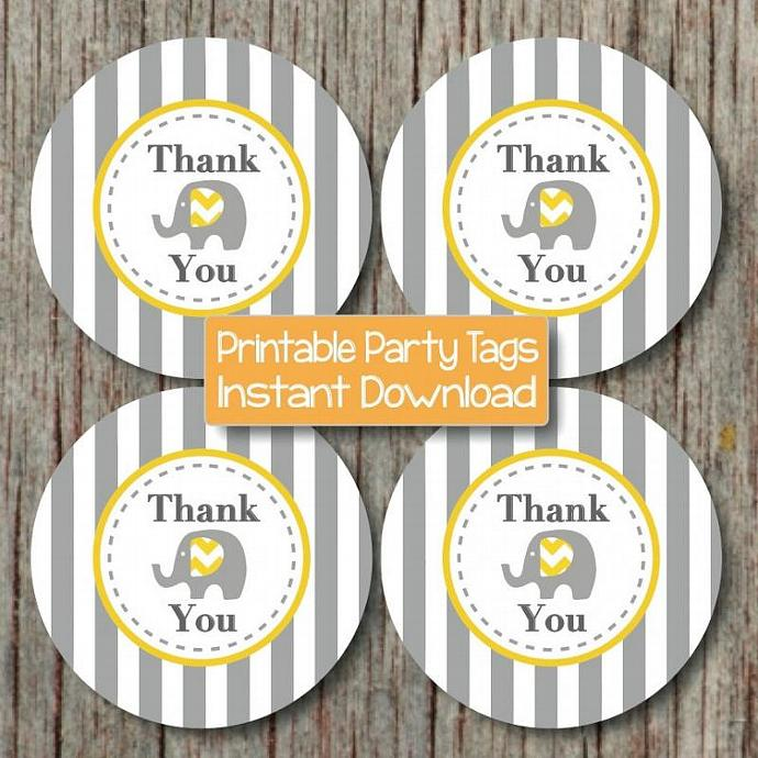 Elephant Thank You Tags Yellow Grey Printable Labels Stickers Baby Shower