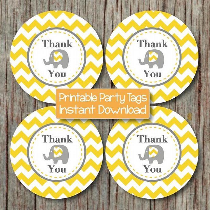 Birthday Party Thank You Tags Printable diy Elephant Yellow Grey Chevron Baby