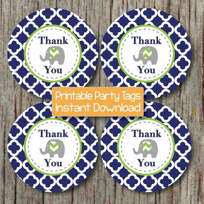 Birthday Thank You Favor Tags Navy Blue Lime Green Quatrefoil Elephant Printable