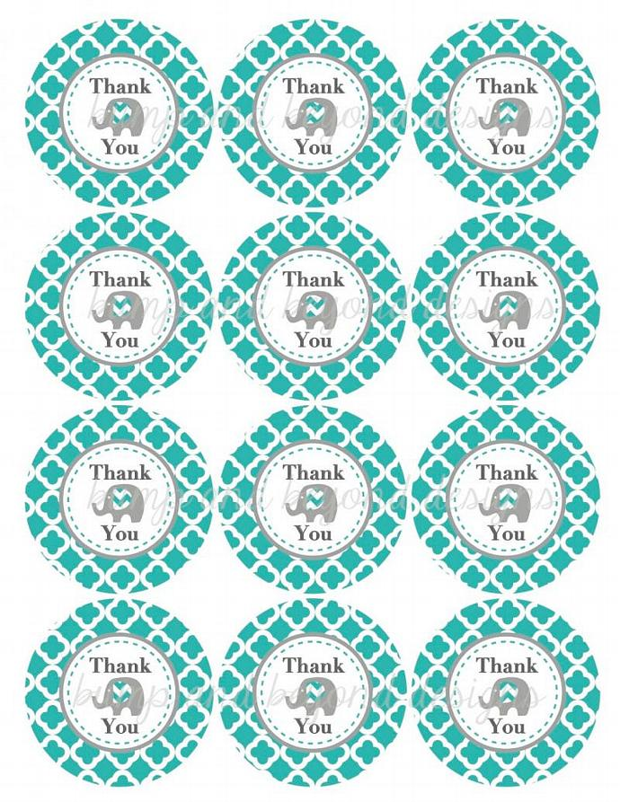 Thank You Tags diy Favor Bag Labels Aqua Grey Quatrefoil Elephant Printable