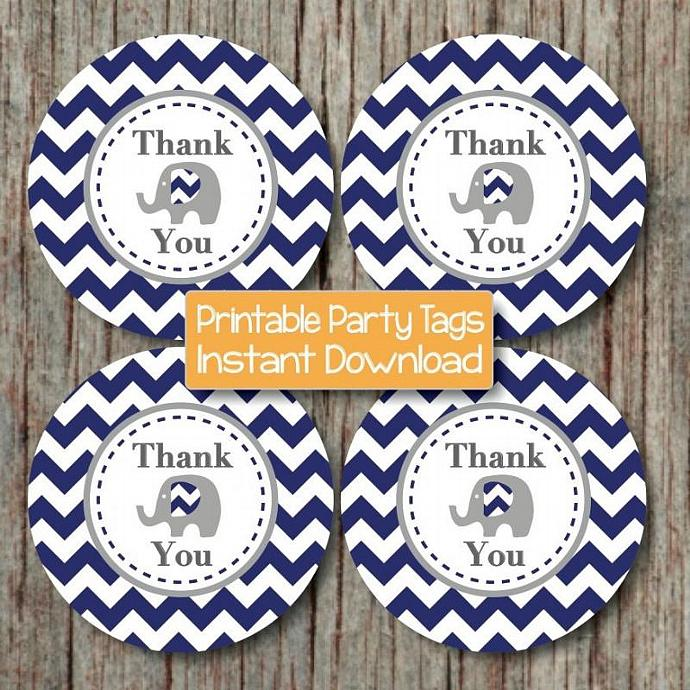 Thank You Tags Elephant Printable Digital Baby Shower Favor Tags Labels diy Baby
