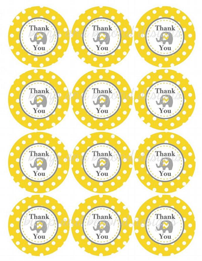 Printable Thank You Favor Tags Birthday Party Baby Shower Elephant Yellow Grey