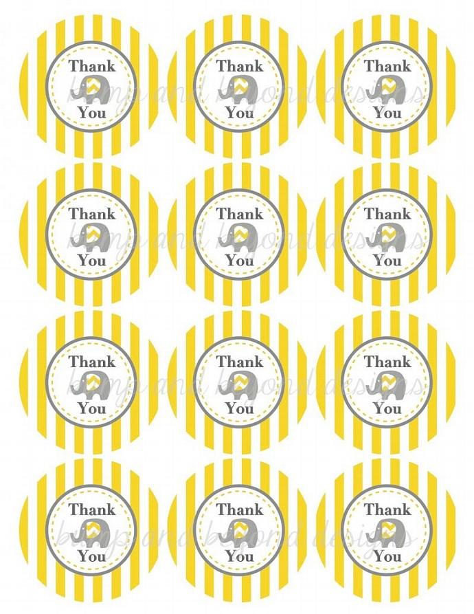 Elephant Yellow Grey Baby Shower Favor Labels Thank You Stickers Bag Tags