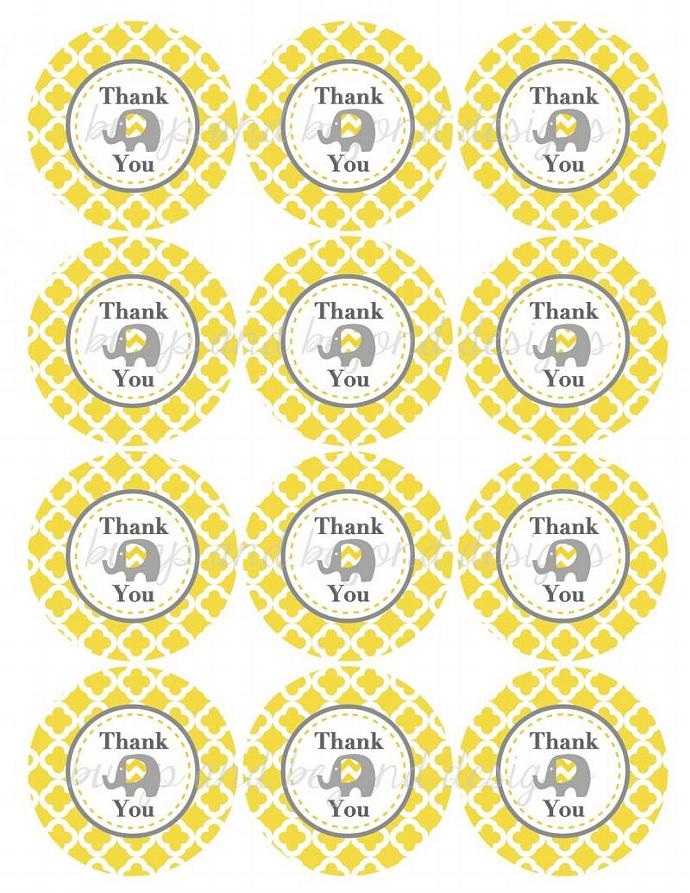 Baby Shower Favor Labels Elephant Thank You Stickers Tags Labels Birthday