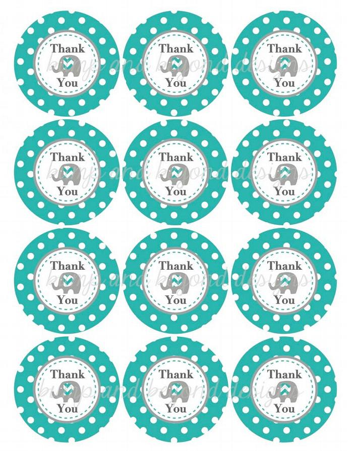 Digital Thank You Favor Tags Aqua Grey Elephant Printable Thank You Tags Baby