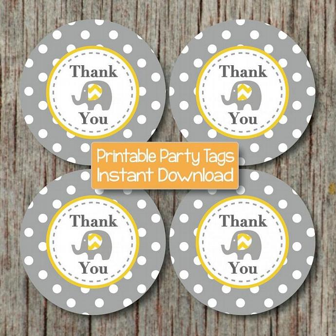 Digital Printable Thank You Tags Baby Shower Birthday Party Elephant Yellow Grey