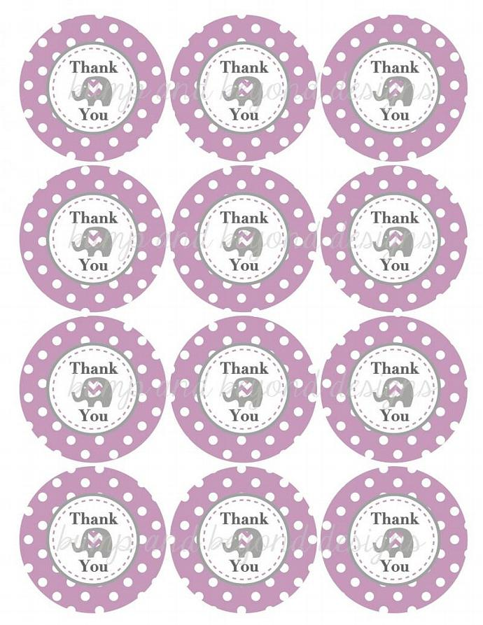 DIY Favor Tags Thank You Labels Baby Shower Birthday Party Elephant Purple Grey