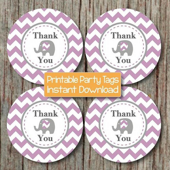 DIY Thank You Tags Baby Shower Favor Tags Elephant Purple Grey Chevron Prinable