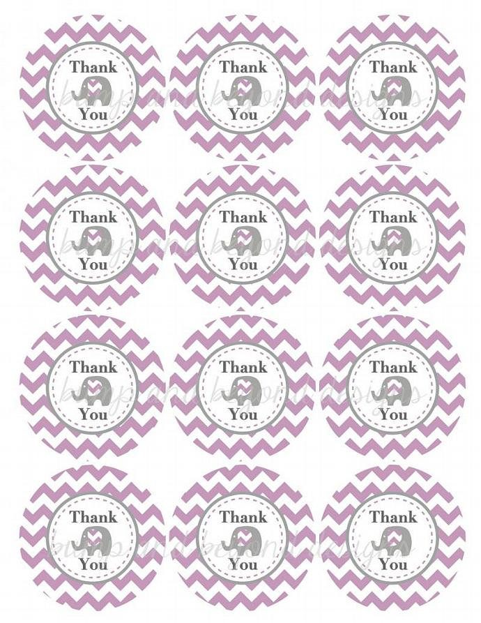 DIY Thank You Tags Baby Shower Favor Tags Elephant Purple Grey Chevron Prinable
