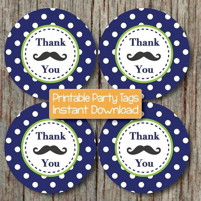 Mustache Bash Little Man Thank You Tags Baby Shower Birthday Party Mustache
