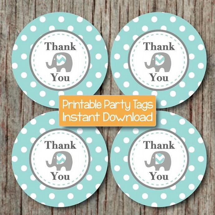 Printable Elephant Thank You Tags Boy Baby Shower Birthday Party diy Favor