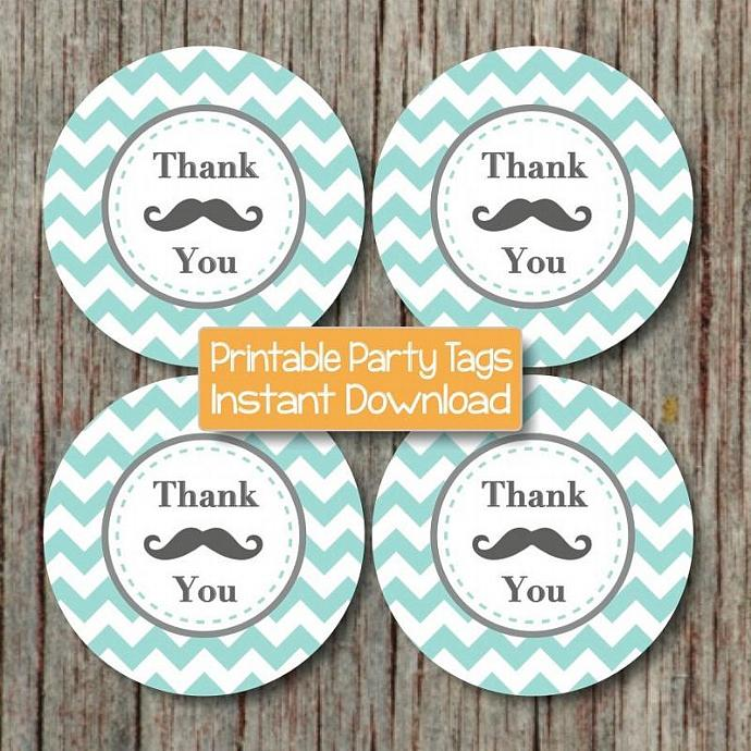 Mustache Bash Printable Thank You Favor Tags Baby Shower Birthday Party Light