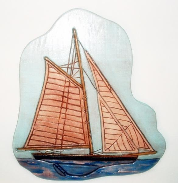 Sailing Schooner, Wood Sculptured Wall Art