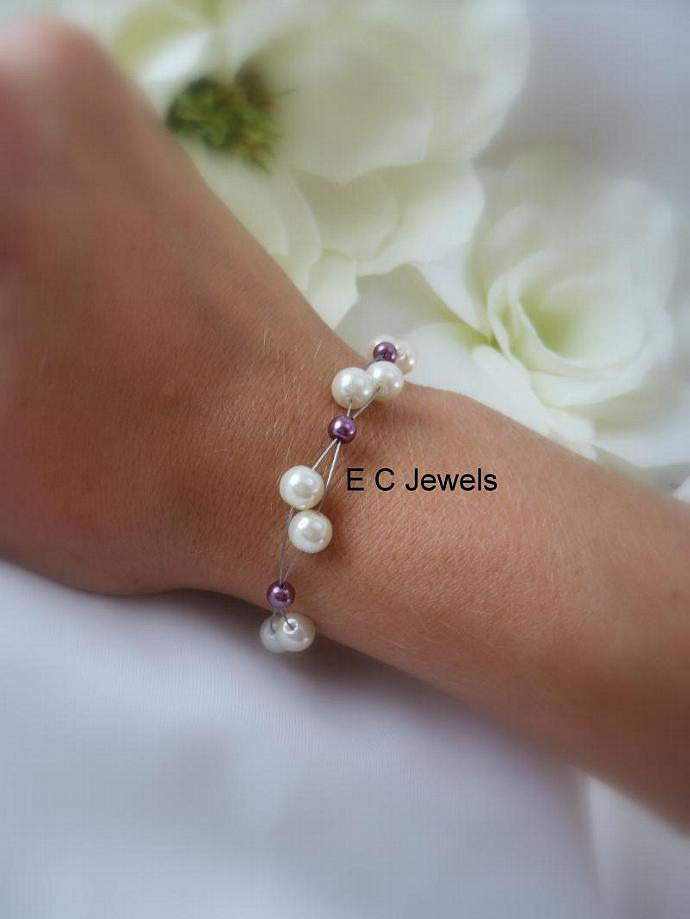 Floating Pearls Bracelet for your Bridesmaids- you pick your colors