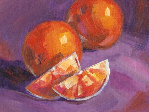 Oranges Painting on Archival Canvas Sheet
