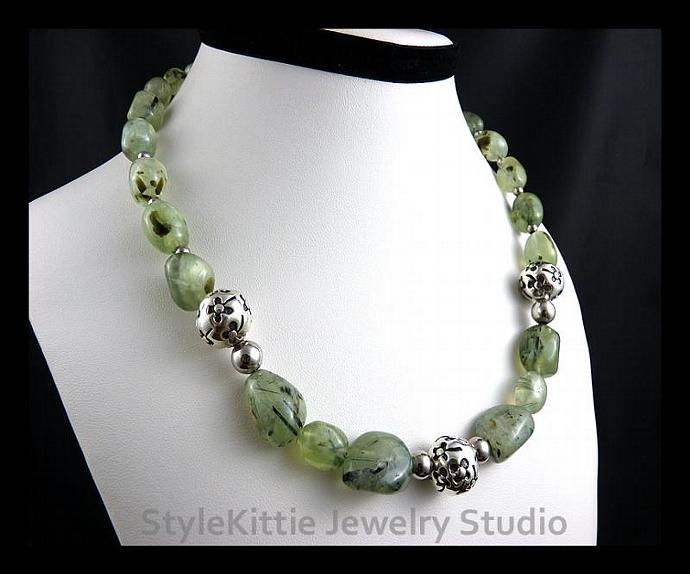 Sterling Silver Flower Bead Necklace with Smooth Tourmalinated Prehnite Nuggets