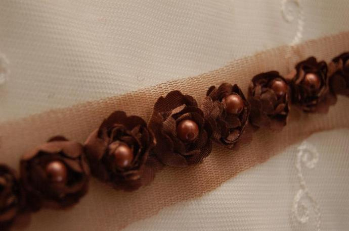 Satin Rosette Trim in BROWN with Hand Sewn Matching Pearl Beads- 1 yard