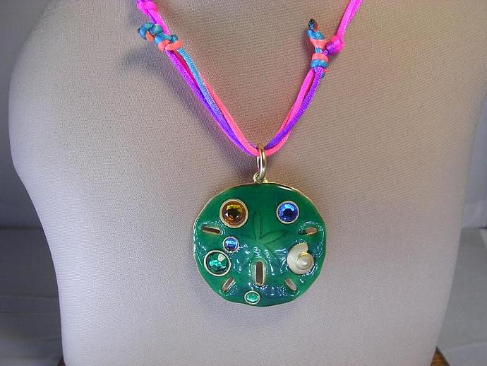 Green Enamel Pendant Necklace on a Pink and Blue Silk Cord, Macrame Cord