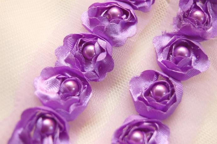Satin Rosette Trim in LILAC with Hand Sewn Matching Pearl Beads-