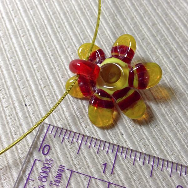Sunshine Swirl Flower Pendant Handmade Lampwork Glass OOAK Focal Bead