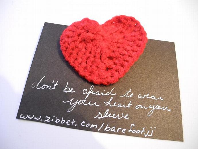 Crocheted Valentine Red Heart Pin