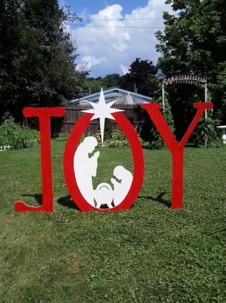 Christmas Joy Outdoor Nativity Sign Outdoor Wood Yard Art Lawn Decoration