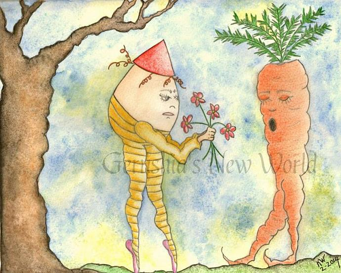 Love is Blind - ORIGINAL Anthropomorphic Mixed Media Salted Watercolor.  Part 1