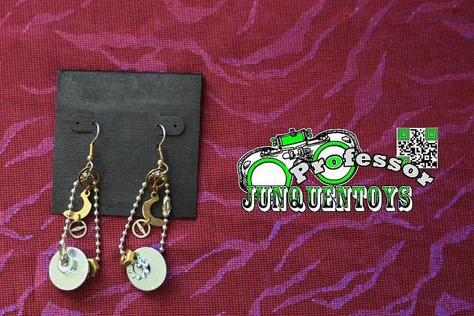 Step Gear Shuffle Ball Chain ~ Adjustable Metal Fashion Earrings ~ Steampunk