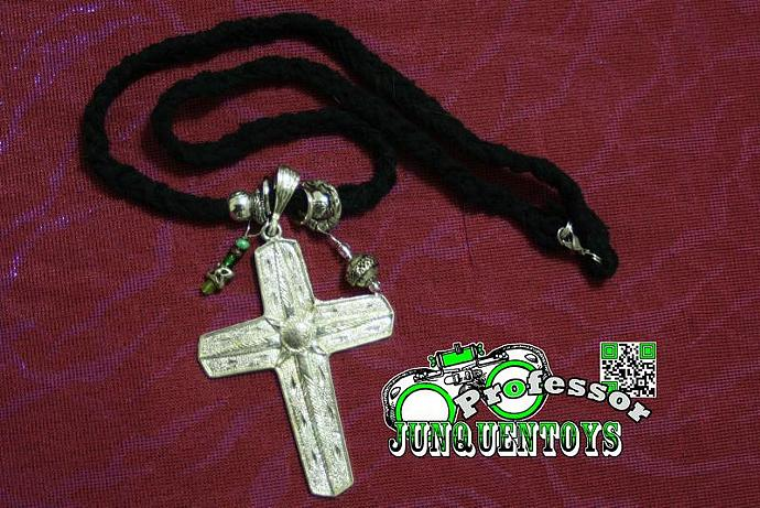 Neo-Christian Bead Bling on Braided Pseudo-Suede Necklace
