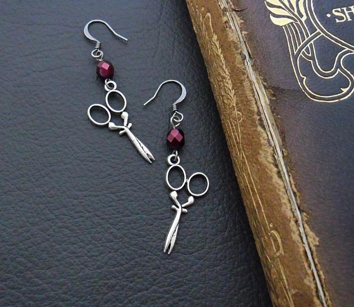 Artful Seamstress earrings: antiqued-silver coloured scissor charms with pearly,