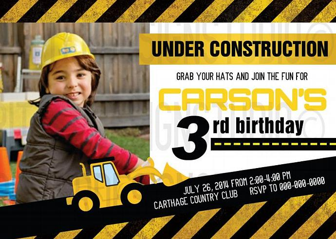 Construction Birthday Invitation with picture - Printable Digital file