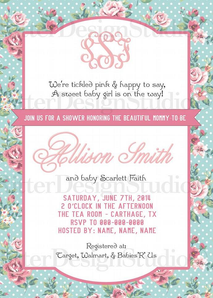 Shabby Chic Flower Floral Baby Shower With Monogram Invitation - Printable