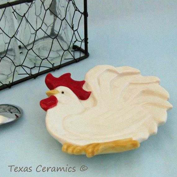 White Rooster or Chicken Tea Bag Holder or Small Ceramic Spoon Rest Country Farm