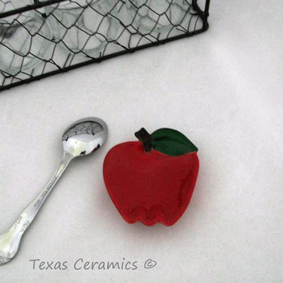 Little Red Apple Ceramic Teabag Holder Small Teaspoon Rest Tableware Accent