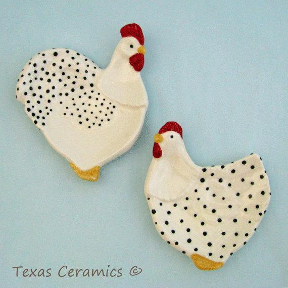 Chicken and Rooster Tea Bag Holder Set or Small Ceramic Spoon Rest,  Black and