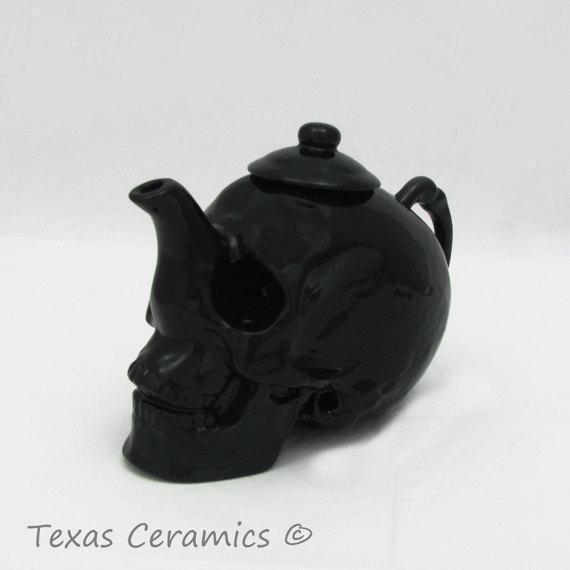Large Black Skull Teapot for Witches Brew Life Like Features Hand Made 32 Ounces