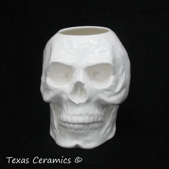 Ceramics Skull Holder in White Use for Toothbrushes, Pencil or Tool Caddy or