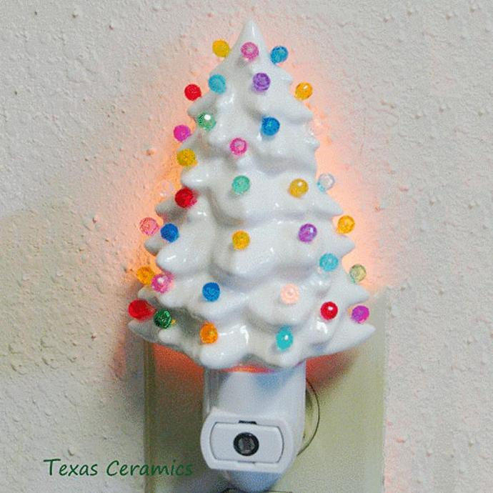 Ceramic Christmas Tree Night Light In White With Color Lights With Automatic Light Sensitive Switch Holiday Lights Decoration